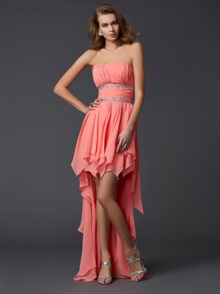 Empire Strapless Mouwloos Ruches High Low Chiffon Homecoming Jurken