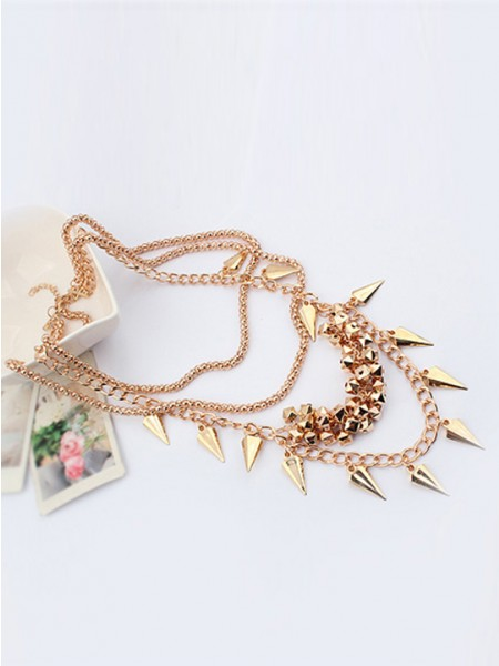 Occident Hyperbolic elegant Street shooting style Button screw Metallic Multi-layered Hete verkoop Ketting