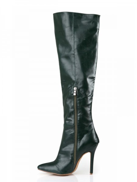 vrouwen Cattlehide Leer Stiletto Heel Closed Toe Knee High Jagersgroen Laarzen